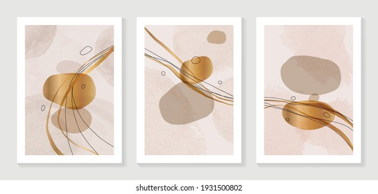 Minimal and Gold abstract wall arts vector collection.  Soft earth tones color, Organic shape hand draw arts brush design for wall framed prints, canvas prints, poster, home decor, cover, wallpaper. V
