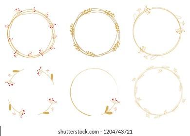 minimal golden dandelion wreath frame collection for christmas or wedding eps10 vector illustration