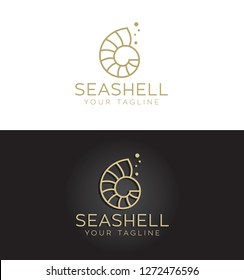 Minimal golden seashell logo, nautilus  linear vector design.