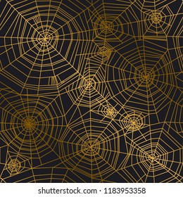 Minimal golden spider web seamless pattern for Halloween design. Simple line art elegant net repeatable motif for wrapping paper, fabric, surface design