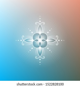 Minimal gradient background; Sacred geometry design; Decorative shiny flower; Energy and vibration of calm; Mindfulness and zen; Vector illustration.