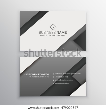 Minimal Gray Black Business Card Stock Vector Royalty Free