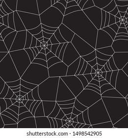 Minimal Halloween Vector Seamless Pattern With White Spider Web on Black Background. Elegant Spooky Holiday Texture Perfect for Gift Wrapping, Home Decor and Textiles