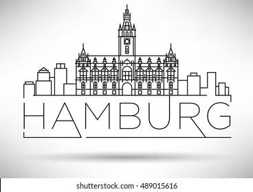 Minimal Hamburg City Linear Skyline with Typographic Design