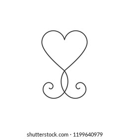 Minimal heart shape with flourishes. Vector illustration, flat design