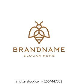 minimal hipster bee bumblebee logo icon vector in trendy simple linear line outline style