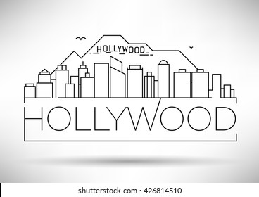 Minimal Hollywood Linear Skyline with Typographic Design