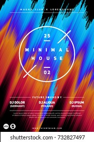 """Minimal house"" party poster. Futuristic flyer with glitch effect. Eps10 vector template."