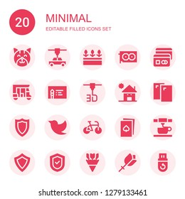 minimal icon set. Collection of 20 filled minimal icons included Cat, d printer, Flowers, Graphic card, Card, Tuk tuk, Business card, Kindergarden, Cards, Shield, Twitter, Bike
