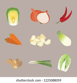 Minimal illustration icon of kimchi ingredients