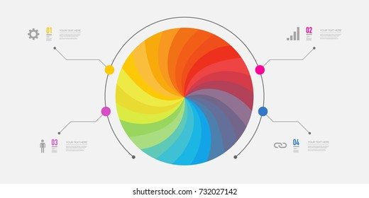 Minimal infographic design with 4 numbered options on dark background. Eps 10 stock vector illustration