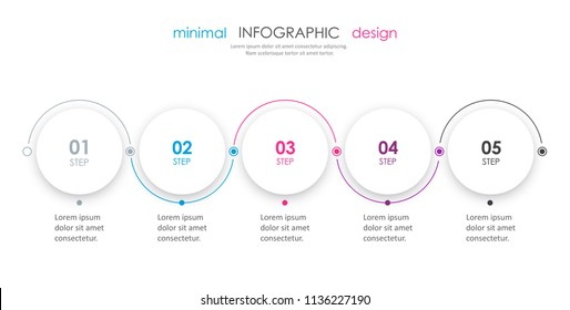 Minimal Infographic design with icons and 5 options or steps. Infographics for business concept. Can be used for presentations banner, workflow layout, process diagram, flow chart, info graph
