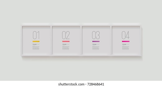 Minimal infographic design  in four numbered picture frame. Eps 10 stock vector illustration