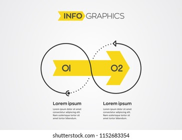 Minimal Infographic design template with 2 options or steps.  Can be used for process diagram, presentations, workflow layout, banner, flow chart, info graph.
