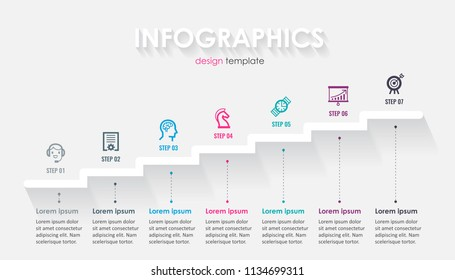 Minimal Infographic label design with icons and 7 options or steps. Infographics for business concept. Can be used for presentations banner, workflow layout, process diagram, flow chart, info graph