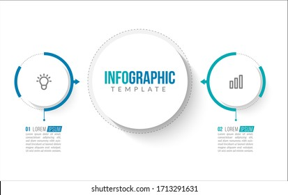 Minimal infographic template design with numbers 2 options or steps.