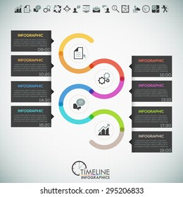 Minimal infographics timeline template with colorful path divided into 8 steps, icons and text. Vector. Can be used for web design and  workflow layout