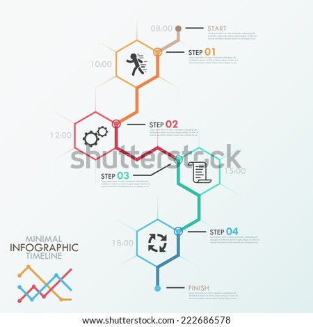 Minimal Infographics Timeline Template Polygons Icons Stock Vector