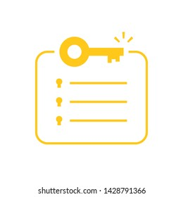 minimal key takeaway yellow checklist. concept of highlight the main points in the report or text and basic moments in document or book. flat simple trend modern logo graphic design isolated on white