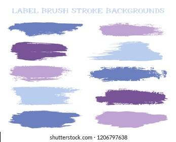 Minimal label brush stroke backgrounds, paint or ink smudges vector for tags and stamps design. Painted label backgrounds patch. Interior paint color palette samples. Ink dabs, violet blue splashes.