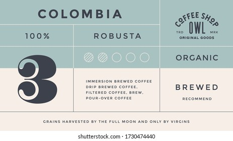 Minimal Label. Teplate typographic modern vintage label, tag, sticker for coffee brand, coffee packing. Retro design minimal label, tag of coffee, old school style, typography. Vector Illustration