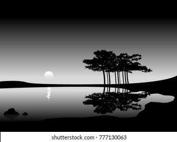 minimal landscape with trees reflecting in water, black and white vector illustration