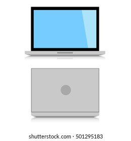 Minimal Laptop isolated on white background. front and back side. Flat design for business financial marketing banking advertising commercial event in minimal concept illustration