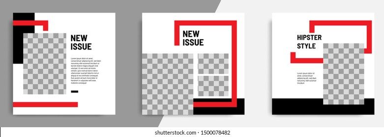 Minimal layout design background vector illustration in black red white frame color. Editable square geometric shape banner template for social media post, stories, story, flyer, look book magazine