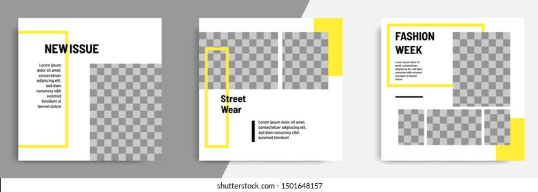 Minimal layout design background vector illustration in black yellow white frame color.