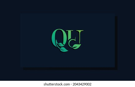 Minimal leaf style Initial QU logo. This logo incorporate with leaf and two letter in the creative way. It will be suitable for ECO, green, nature, growth and herbal related Brand or company.