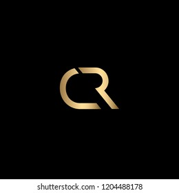 Minimal Letter CR Logo Design, Outstanding Professional Elegant Trendy Awesome Artistic Black and Gold initial Based Alphabet Iconic C R Logo Design
