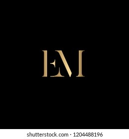 Minimal Letter EM Logo Design, Outstanding Professional Elegant Trendy Awesome Artistic Black and Gold initial Based Alphabet Iconic E M Logo Design
