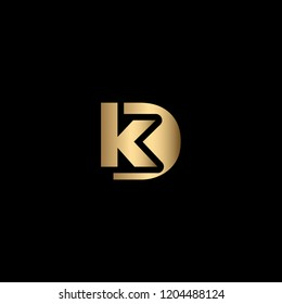 Minimal Letter KD or DK Logo Design, Outstanding Professional Elegant Trendy Awesome Artistic Black and Gold initial Based Alphabet Iconic K D Logo Design