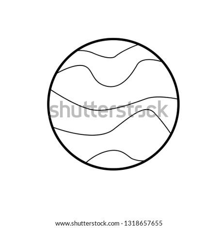 Minimal Line Art Planet Mercury Curved Stock Vector (Royalty