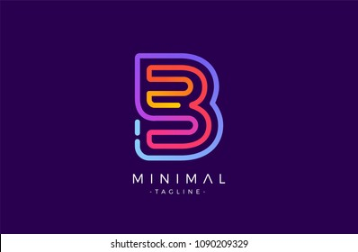 Minimal line font style B Letter Logo in colorful stroke for personal and corporate identity