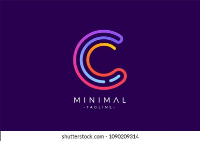 Minimal line font style C Letter Logo in colorful stroke for personal and corporate identity