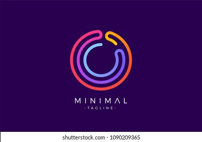 Minimal line font style O Letter Logo in colorful stroke for personal and corporate identity