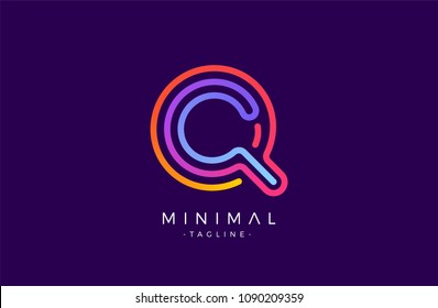 Minimal line font style Q Letter Logo in colorful stroke for personal and corporate identity