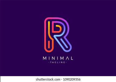 Minimal line font style R Letter Logo in colorful stroke for personal and corporate identity