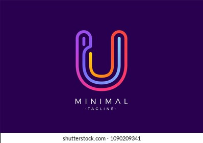 Minimal line font style U Letter Logo in colorful stroke for personal and corporate identity