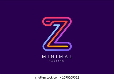 Minimal line font style Z Letter Logo in colorful stroke for personal and corporate identity