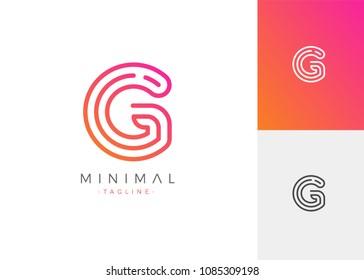 Minimal Line Letter Initial G Logo Design Template. Vector Logo Illustration