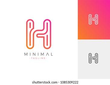 Minimal Line Letter Initial H Logo Design Template. Vector Logo Illustration