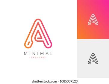 Minimal Line Letter Initial A Logo Design Template. Vector Logo Illustration