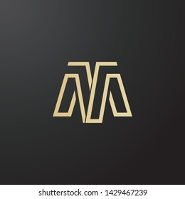 Minimal line letter initial M MT AA logo. Abstract and elegant shape font sign. logotype vector design template for personal identity branding, creative industry, web, business, corporate and company