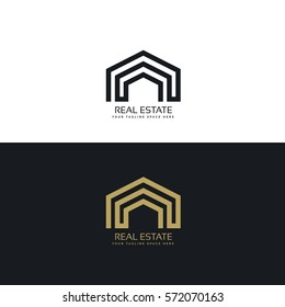 minimal line real estate logo design concept