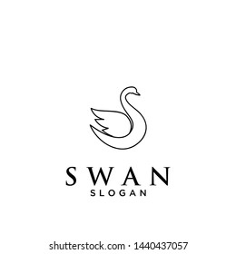 minimal line swan logo icon design vector illustration