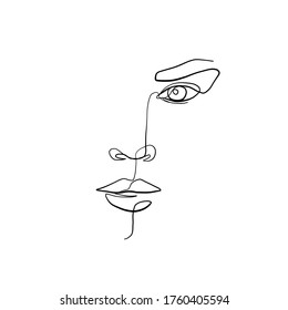Minimal line vector woman face. Linear glamour portrait woman. Portrait of girl. Linear glamour logo in minimal style for beauty salon, beautician, makeup artist, stylist. Hand drawn art.