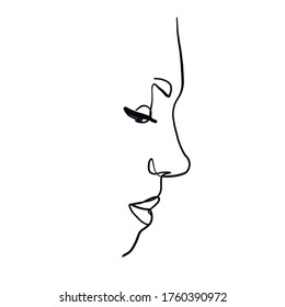 Minimal line vector woman. Linear glamour portrait woman. Portrait of girl. Linear glamour logo in minimal style for beauty salon, beautician, makeup artist, stylist. Hand drawn art.