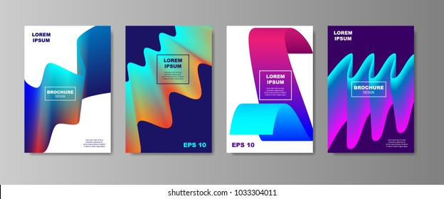 Minimal Liquid cover designs set. Future Poster templates with Fluid shapes composition with smooth gradient. vector illustration